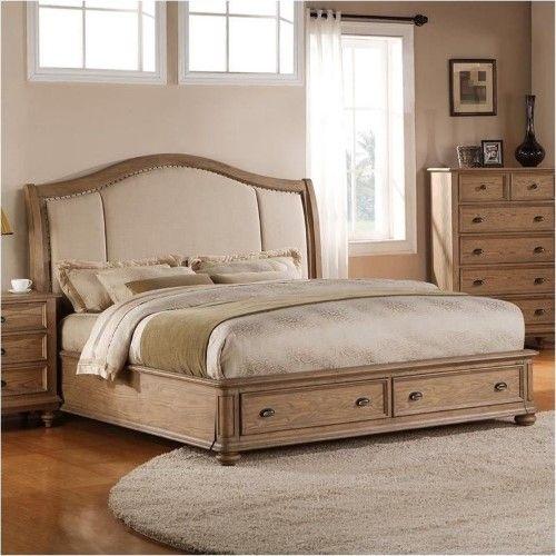 Beaumont Lane California King Upholstered Storage Sleigh Bed - Lane Bedroom Furniture