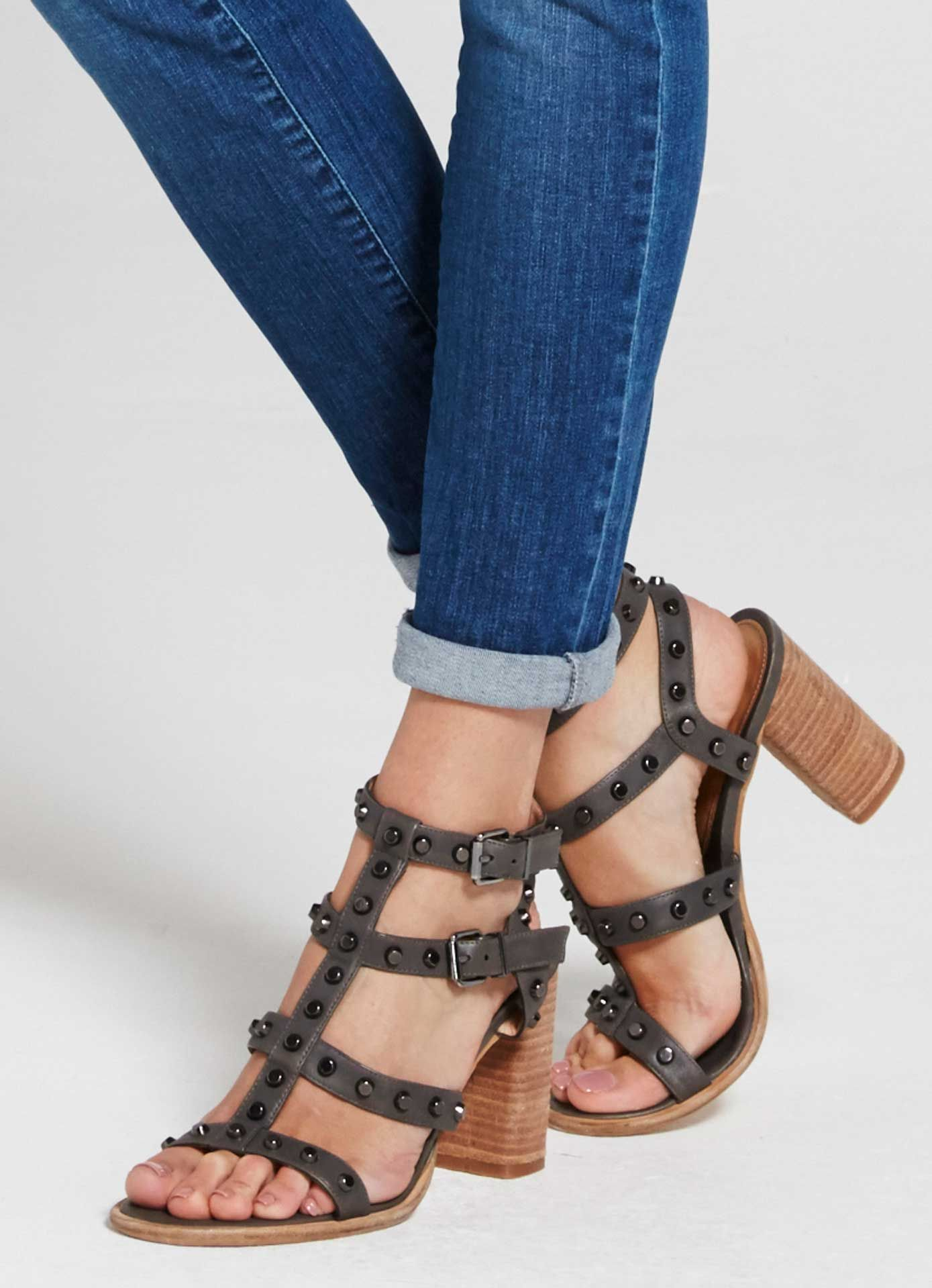Grey Billie Studded Sandal | Shoes | MintVelvet
