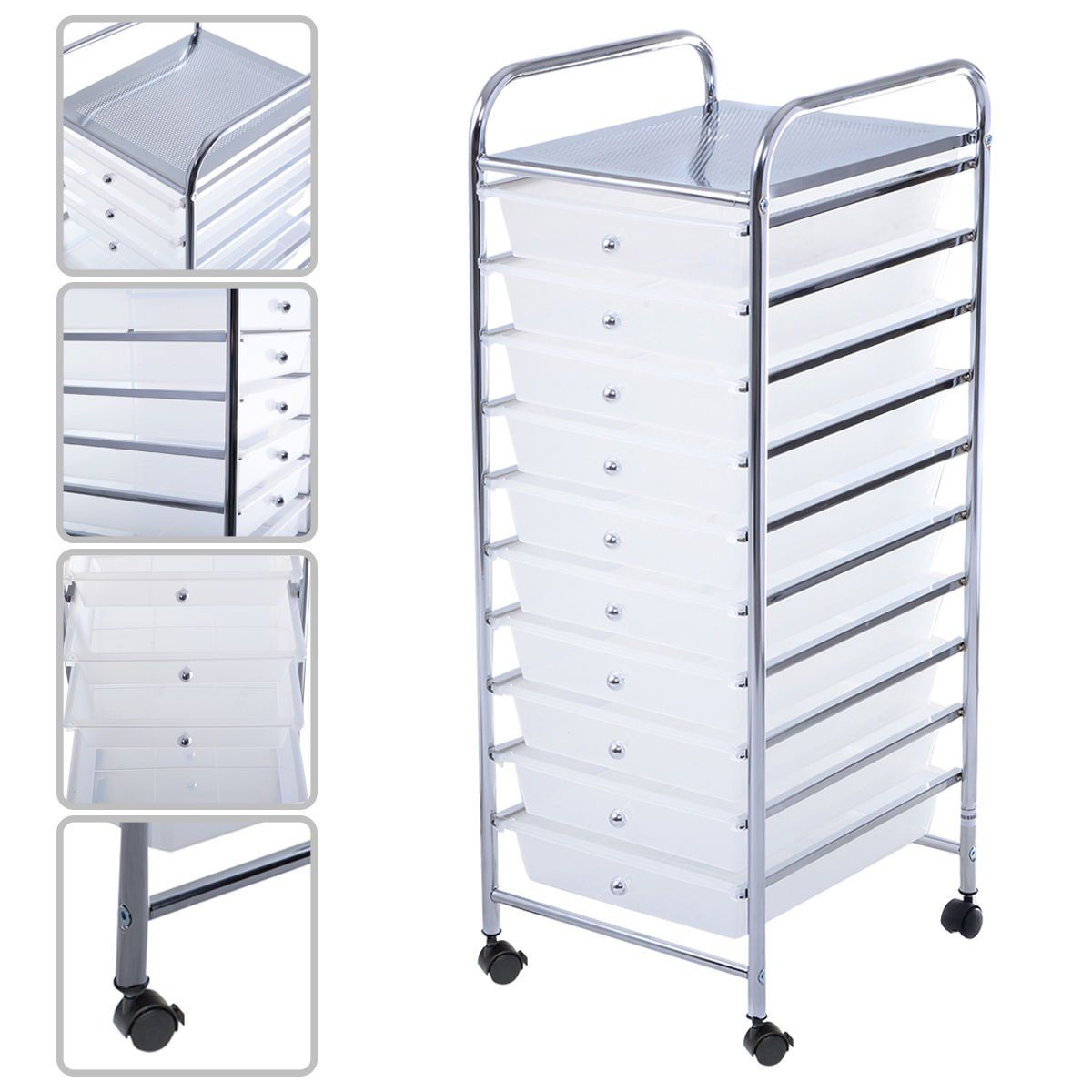 Costway 10 Drawer Rolling Storage Cart Scrapbook Paper Office School Organizer Clear Walmart Com In 2020 Rolling Storage Storage Cart Rolling Storage Cart