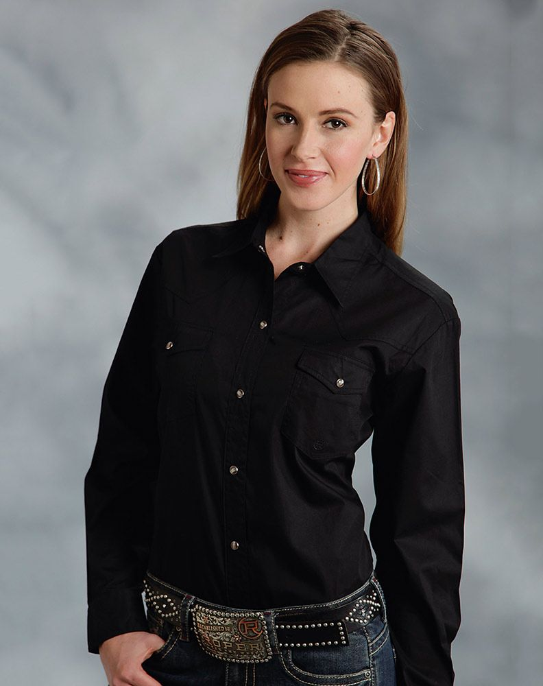 Roper Women's Long Sleeve Solid Western Snap Shirt - Black ...