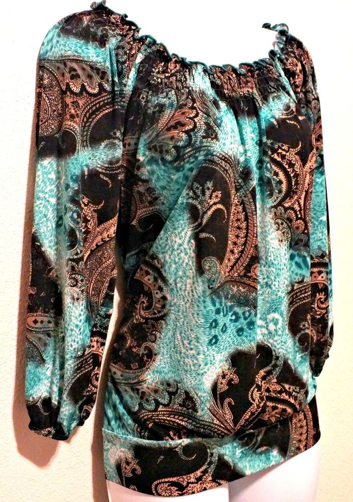 Carol Rose Casual 3/4 Sleeve Paisley Print Women's Top Blouse Size M #CarolRose #Blouse #Casual