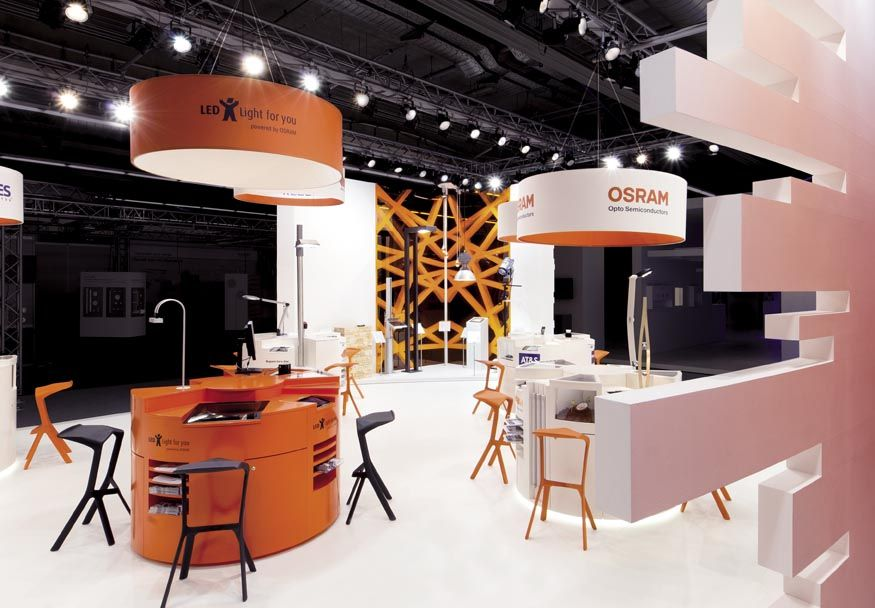 Osram Opto Semiconducters GmbH's booth epitomizes form meets function by managing to unify 16 different partner entities under one awe-inspiring roof.