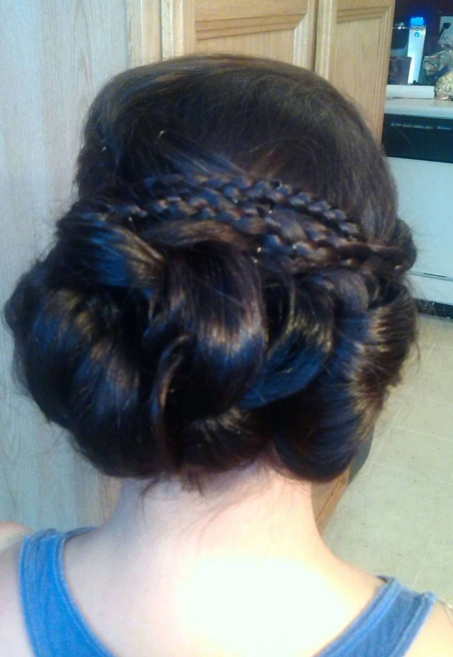 Updo using 3 loose buns. Great for bridal, wedding party, prom, special events, holiday hair. By, https://m.facebook.com/profile.php?id=1401180003427140&__user=858600712