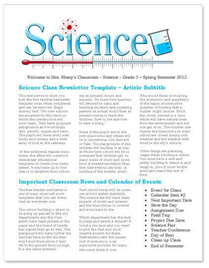 Science Teacher Education Newsletter  Free Template For Microsoft