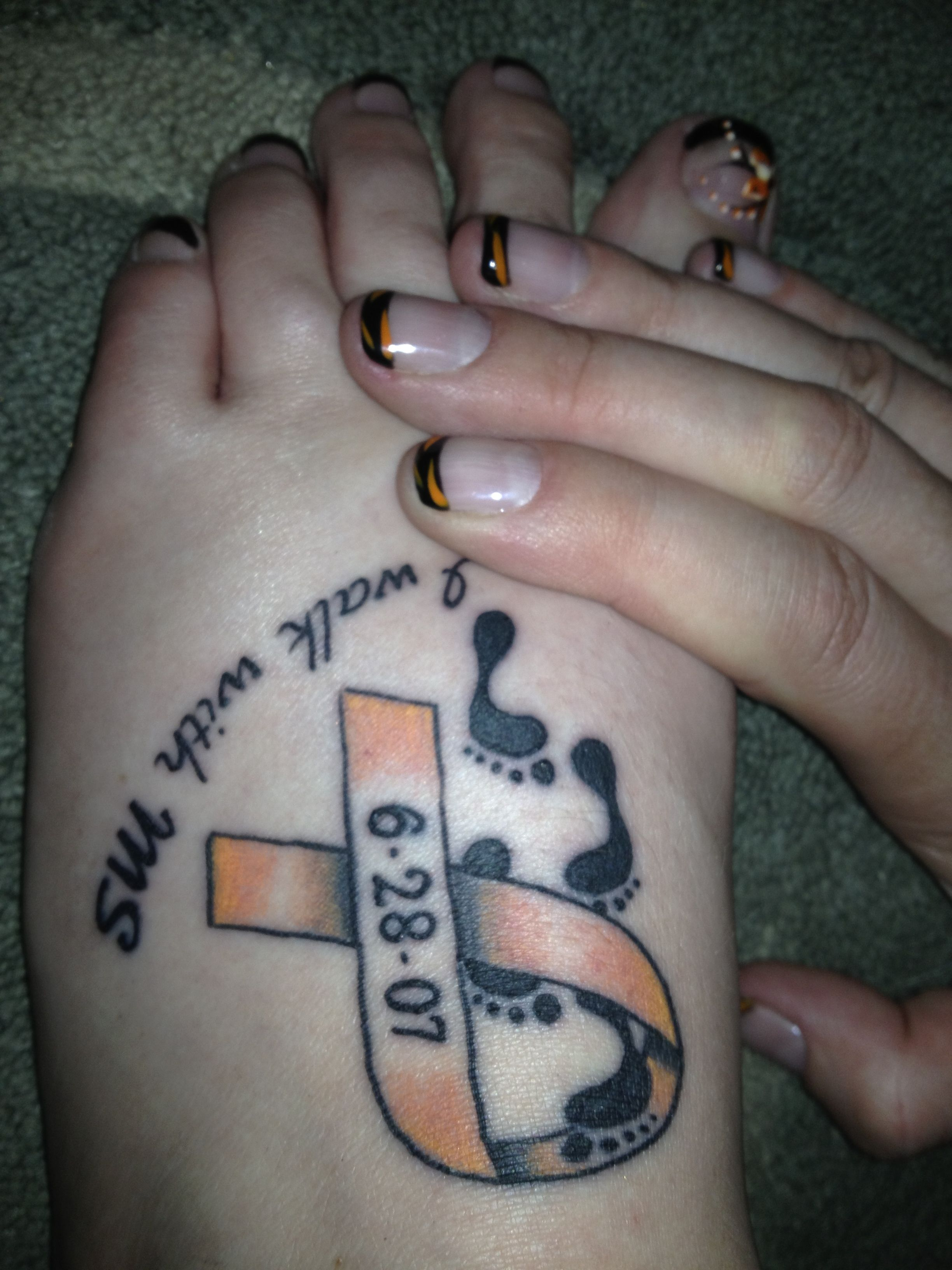 9d072b457a154 Foot Tattoo diagnosis date and MS ribbon. | Tattoos | Multiple ...