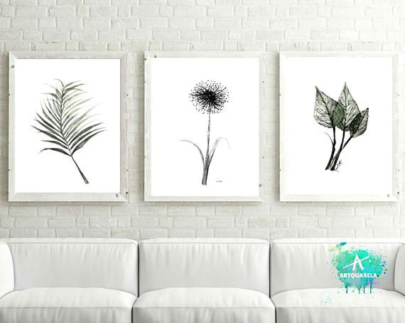 Set Of 3 Watercolor Botanical Illustration Minimalist Poster Scandinavian Prints Minimalist Flower Black And White Wall Art Digital Print Cuadros Decorativos Laminas Decorativas Cuadros Decorativos Para Sala