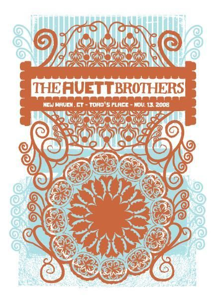 Avett Brothers Concert Print 11/13/08 - New Haven, CT