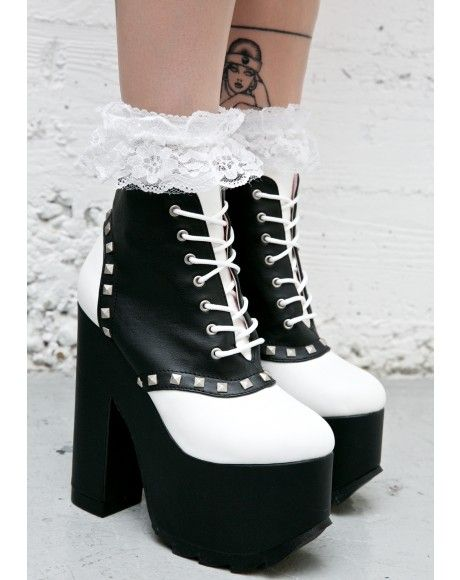 4306cdf5a6b9a  DollsKill  lookbook  photoshoot  model  Demonia  mischievous  platforms   heels  saddle  shoes  white  black  studs  studded