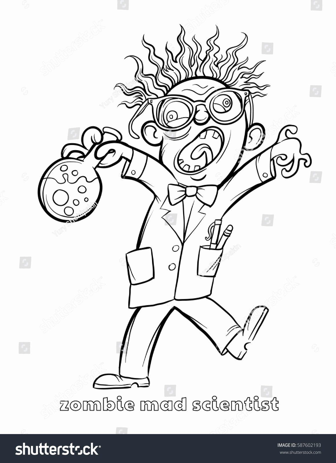 Mad Science Coloring Page New Funny Zombie Mad Scientist Coloring Page Unicorn Coloring Pages Shape Coloring Pages Coloring Pages