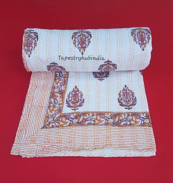Indian hand block printed kantha quilt cotton bedspread blanket throw queen size