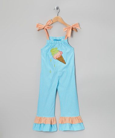 Turquoise Ice Cream Jumpsuit - Toddler by Little Belles & Beaus #zulily #zulilyfinds
