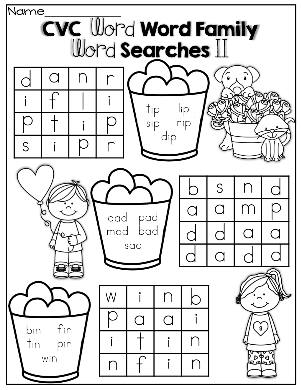 Simple Cvc Word Family Word Search