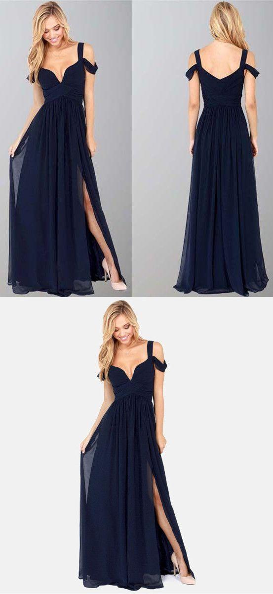 2017 Prom Dress, Navy Blue Long Prom Dress with Side SLit, Cheap ...