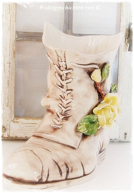 #Vase #Shabby-Stil http://de.dawanda.com/product/12959422-Vase-Shabby-Schuh