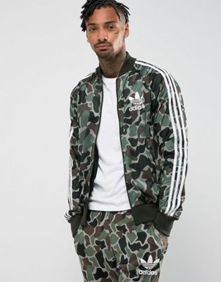 adidas Originals Camo Superstar Track Top Green in Green for
