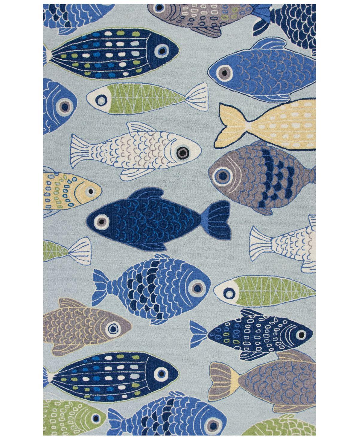 Kas Sonesta Sea Of Fish 2010 Light Blue 7 6 X 9 6 Area Rug