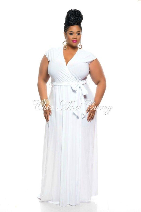 Final Sale Plus Size Long Sleeveless Wrap Dress w/ Tie in White 1x ...