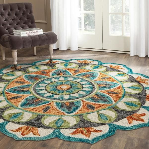 Lr Resources Dazzle Teal Green 4 Ft Round Indoor Area Rug Dazzl54085teg40rd The Home Depot In 2020 Lr Home Rugs Colorful Rugs