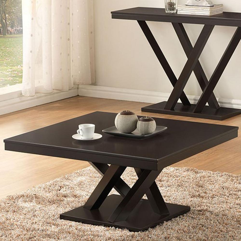 Everdon Dark Brown Coffee Table Products Baxton Studio