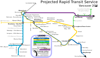 Map Of Canada Line Vancouver.The Skytrain Metro System Is Projected To Include The Canada Line