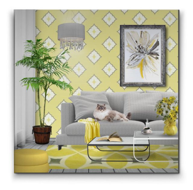 """""""Yellow & Gray"""" by signaturenails-dstanley ❤ liked on Polyvore featuring interior, interiors, interior design, home, home decor, interior decorating, York Wallcoverings, nuLOOM and Crestview Collection"""