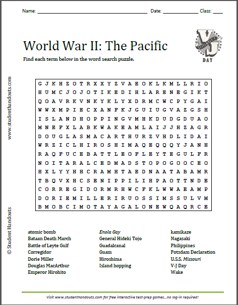World War II in the Pacific Word Search Puzzle | Free to print ...