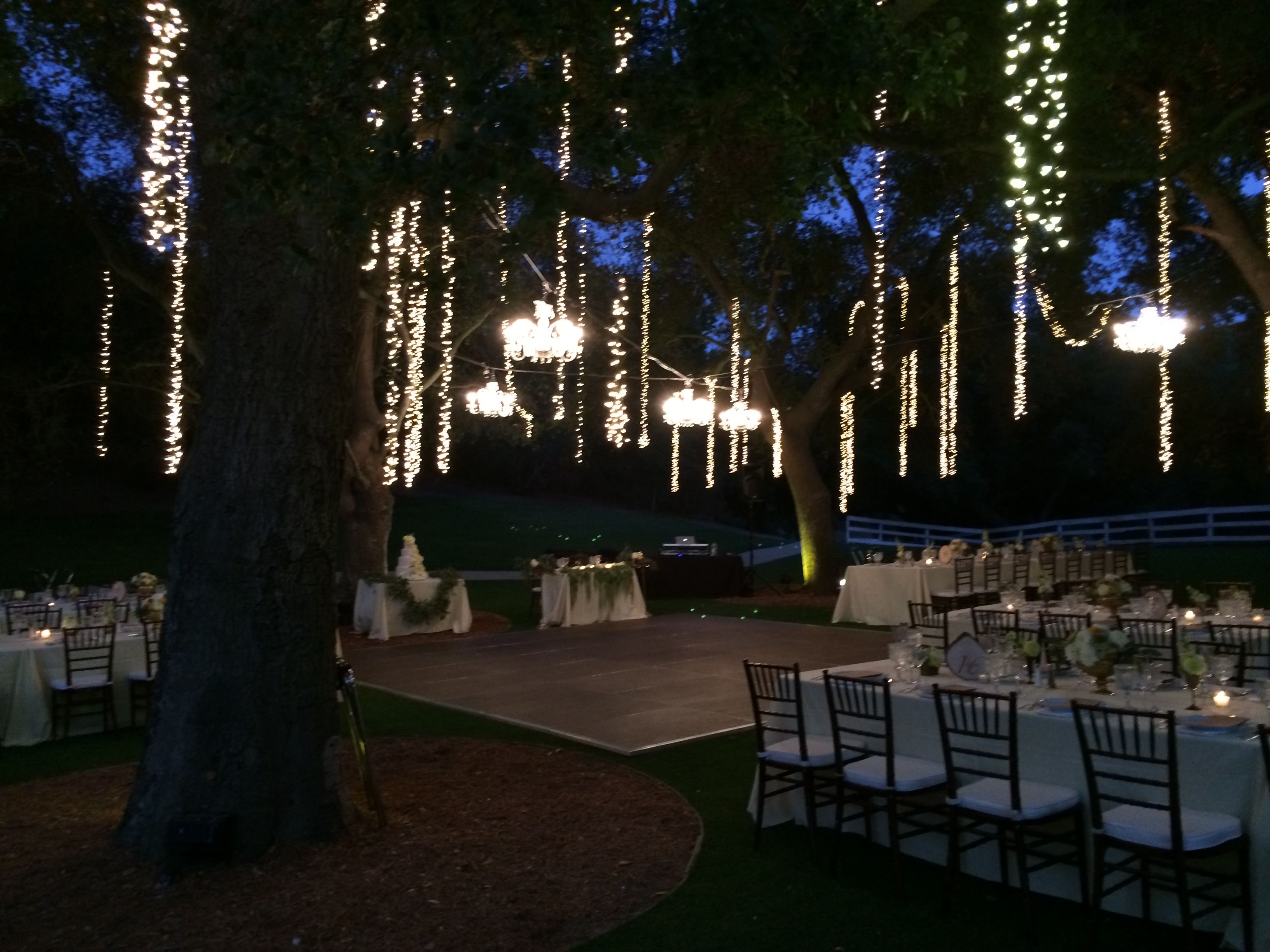 #Chandeliers above the dance floor at Calamigos Ranch Malibu CA. #wedding & A gobo in a swimming pool makes an elegant statement for outdoor ... azcodes.com