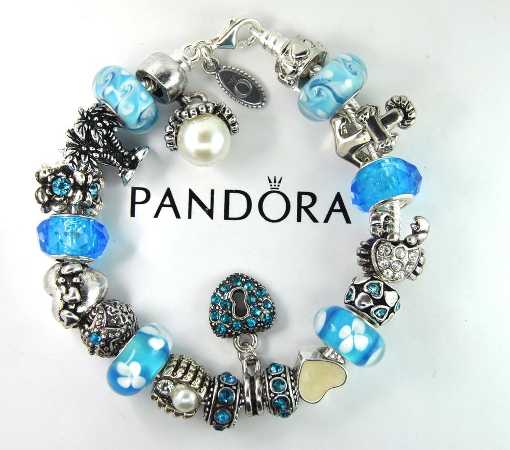 Authentic Pandora Silver Charm Bracelet With European Charm Beads