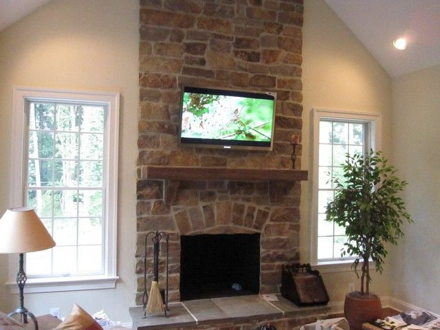 Tv Mount Over Stone Fireplace Perfect For Our New Living Room Setup