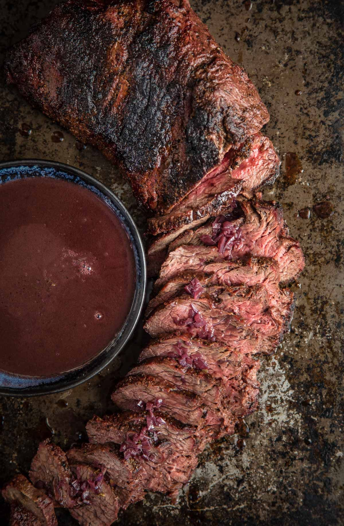 Grilled Tri Tip With Zinfandel Red Wine Reduction Sauce Vindulge Recipe In 2020 Red Wine Reduction Sauce Red Wine Reduction Rib Recipes