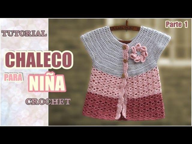 Chaleco para niña tejido a crochet (1 de 2) | Niños tejiendo, Para ...