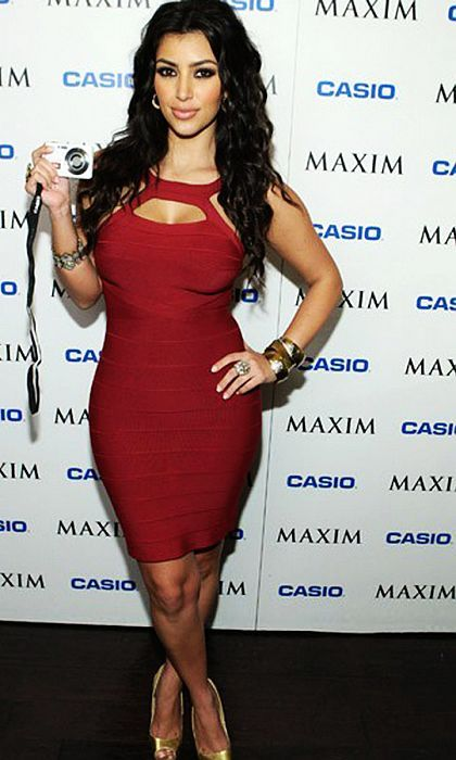Herve Leger Kim Kardashian ca Maroon Cutout Bandage Red Dress | when ...
