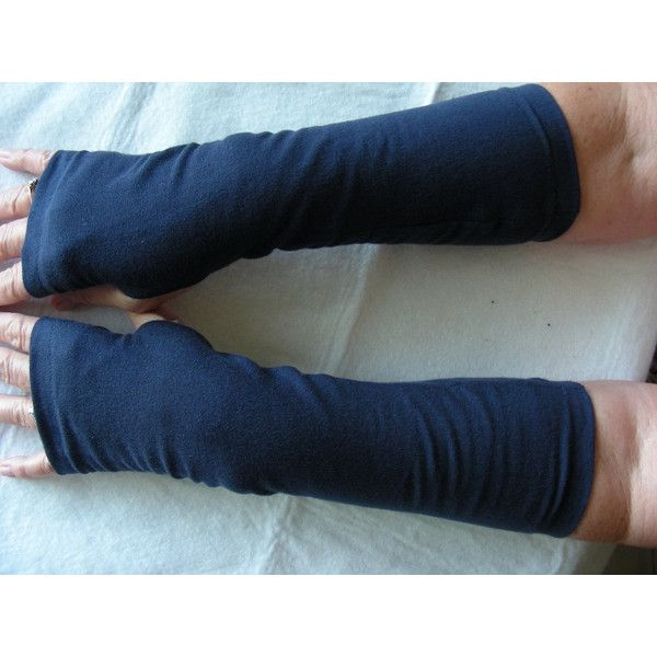 Navy Jersey Fingerless Gloves, Jersey Arm Warmers, Texting Gloves,... ($9.50) ❤ liked on Polyvore featuring accessories, gloves, jersey gloves, arm warmer gloves, mitt glove, lightweight gloves and navy blue fingerless gloves
