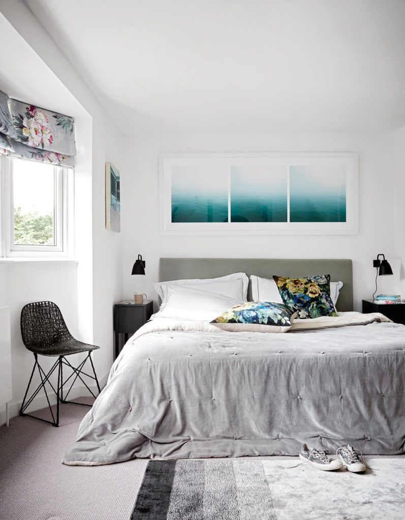 Master bedroom artwork  The master suite is blissful in tones of white and grey with pops of