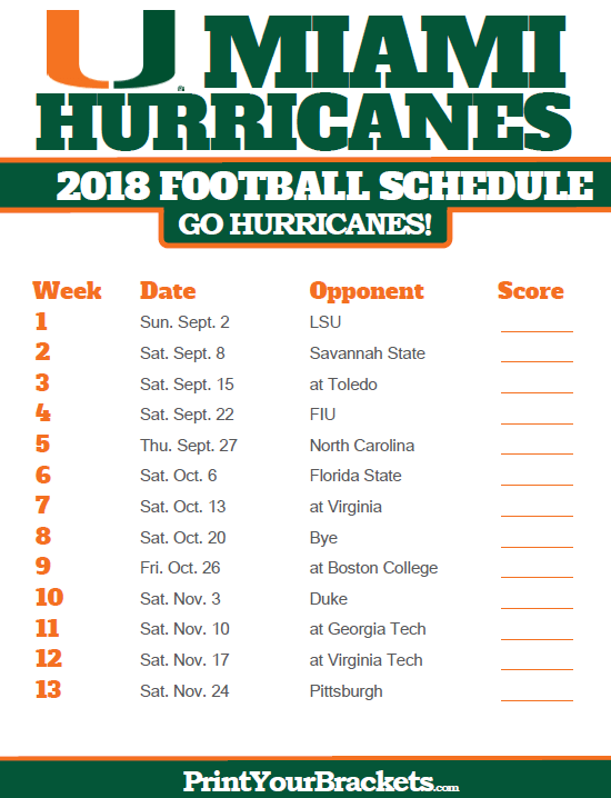 2018 Printable Miami Hurricanes Football Schedule Sale Up To 75