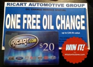 free ricart oil change and gift card giveaway weredealin