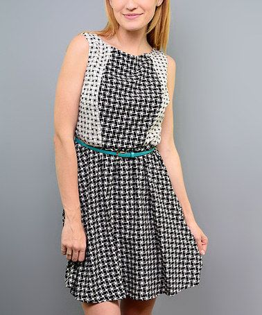 Look what I found on #zulily! White & Black Abstract Belted Sleeveless Dress by SOB Clothing #zulilyfinds