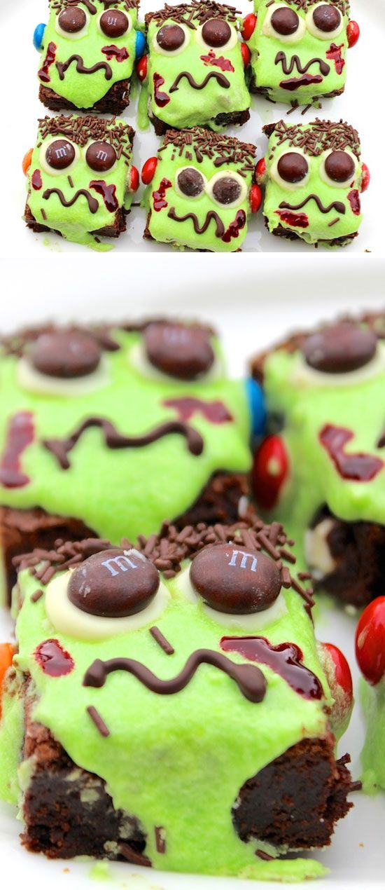 Frankenstein Brownies Click Pic for 24 Easy Halloween Treats for - halloween party ideas for kids food