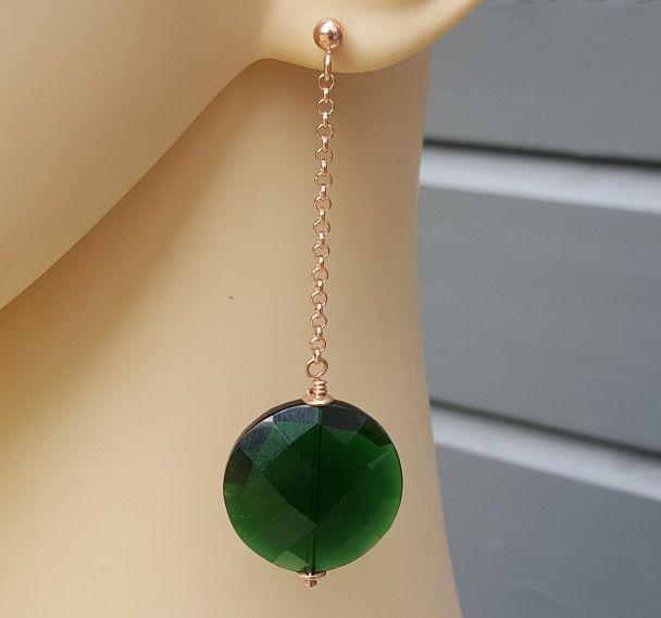 Oorbellen met ronde Emerald groene quartz