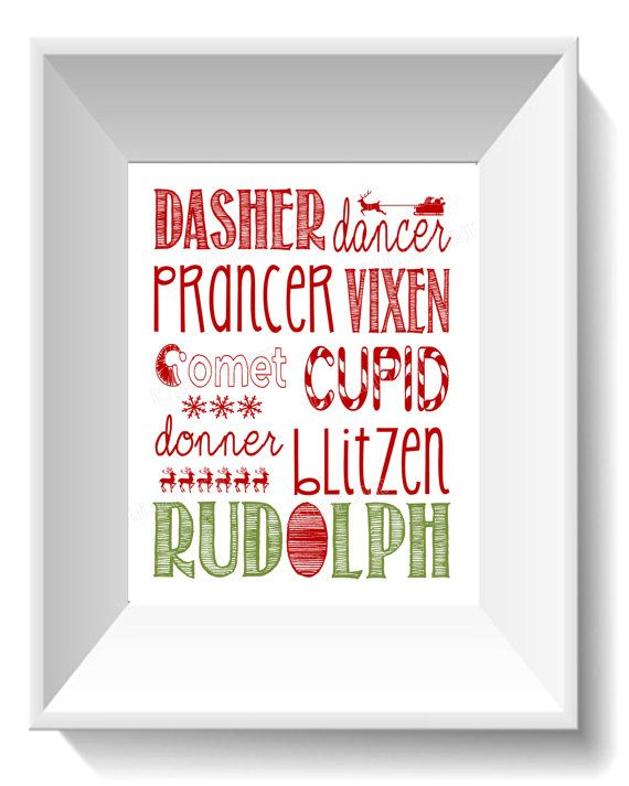Reindeer Names Printable  Christmas by RedBirdCustomDesigns