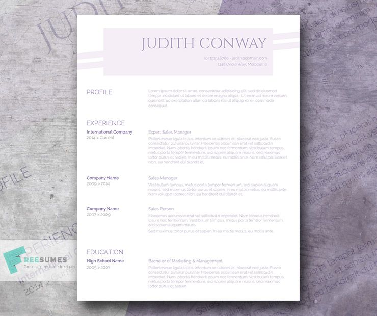 The Free Purple Resume Template  A Touch Of Lilac  Template And