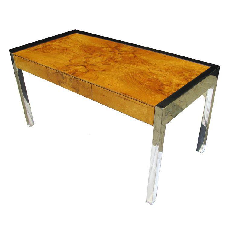 Pace Burlwood Chrome Executive Desk By Pace Collection Vintage Desk Find Furniture Burled Wood