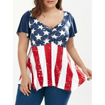 71acd229faa2a Ruched Plus Size Patriotic Tunic American Flag Top