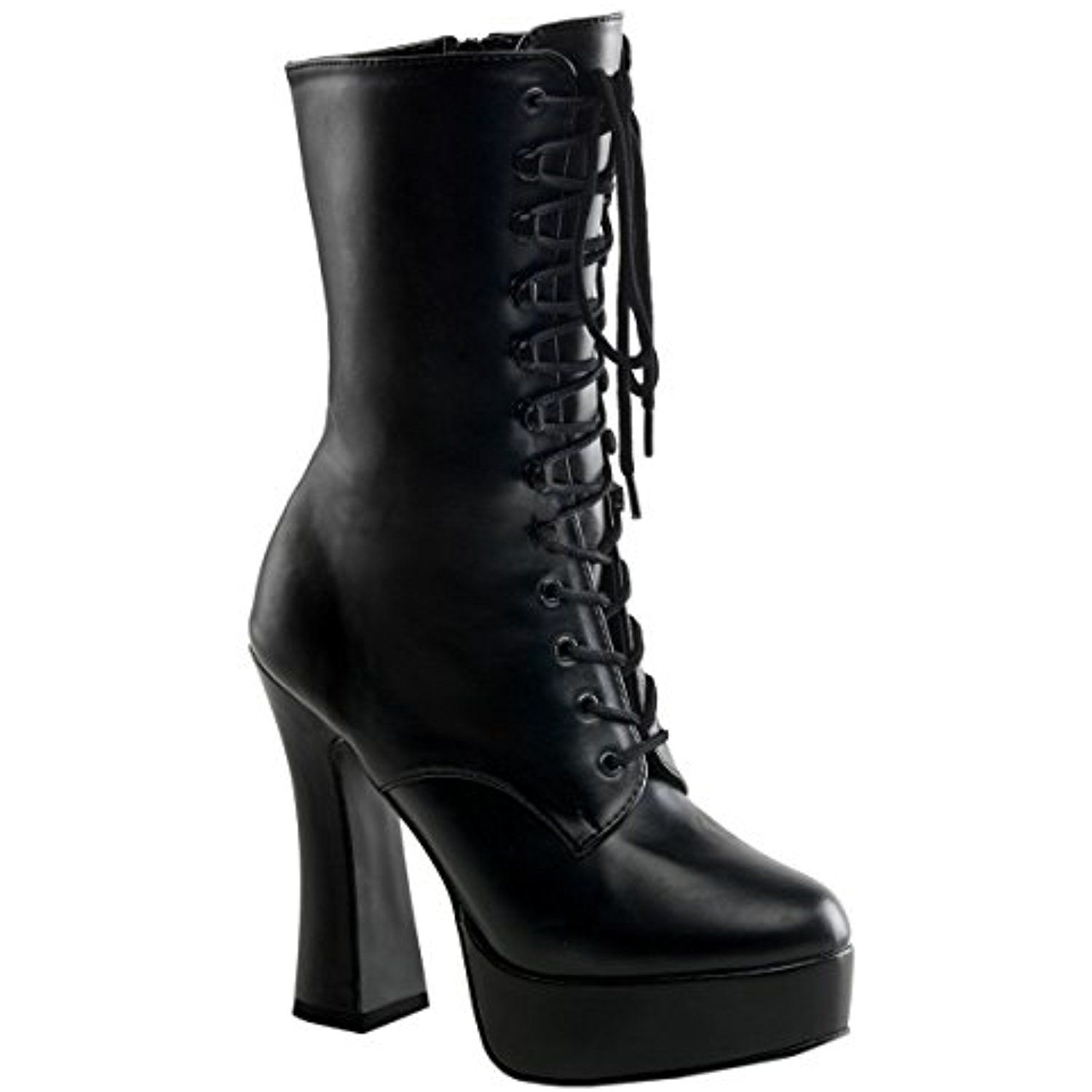 5 Inch Hot Gothic Ankle Boots Stack Heel w/ 1 1/2 Inch Platform Black Poly