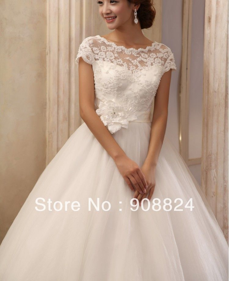 custom new line ankle length short sleeve lace organza wedding