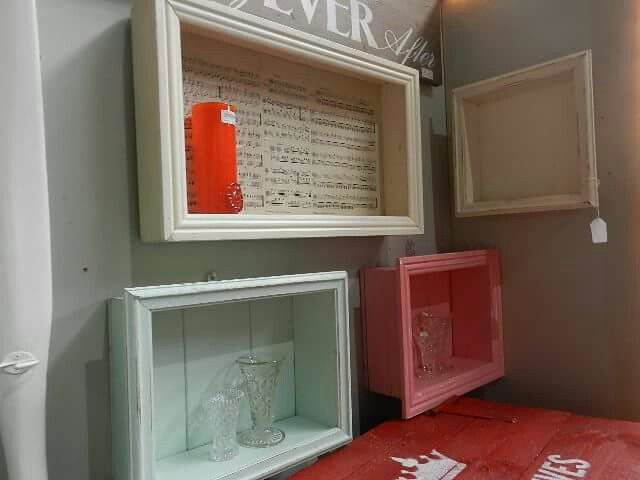 Homemade wall mounted shadow boxes