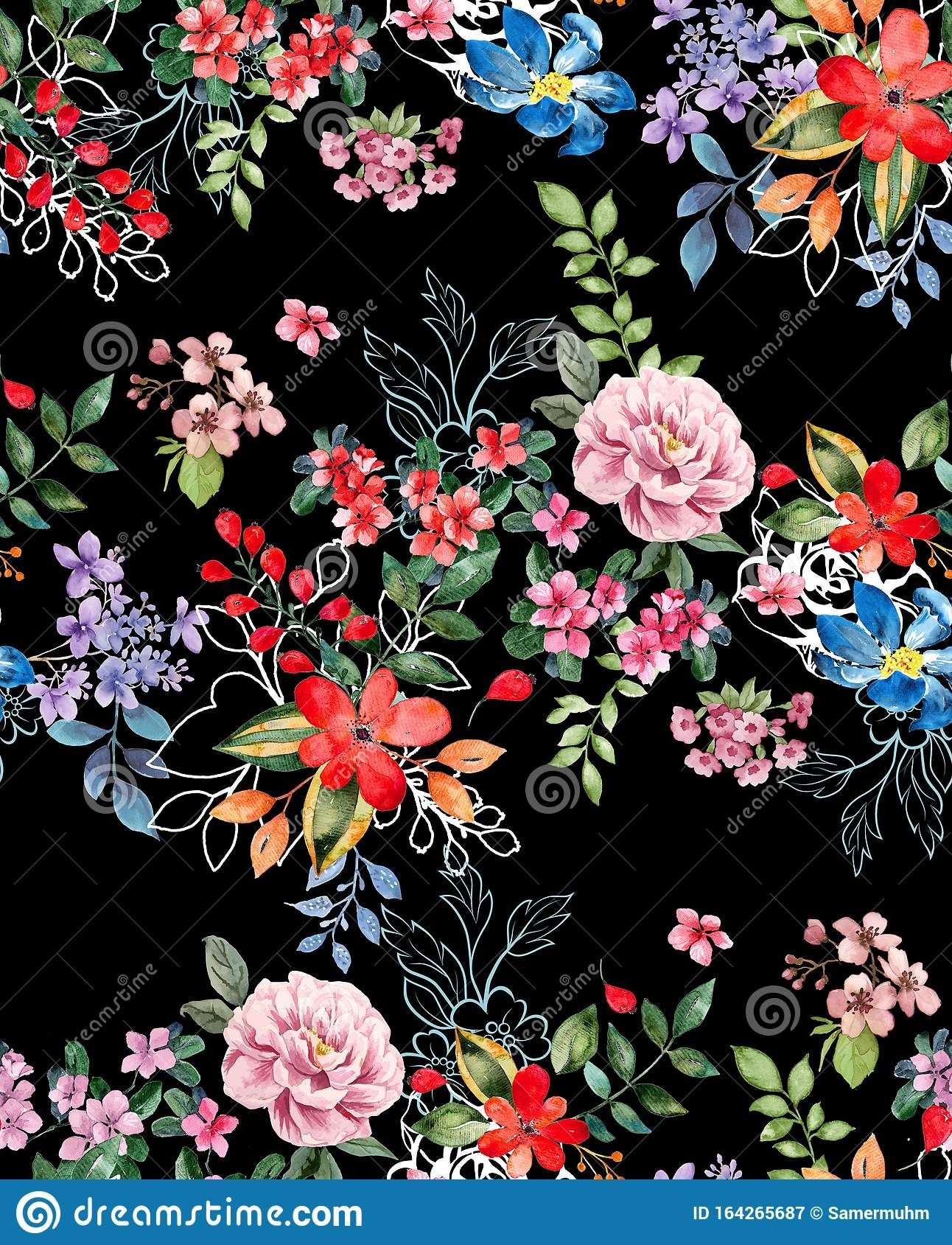Seamless Watercolor Floral Design With Black Background For