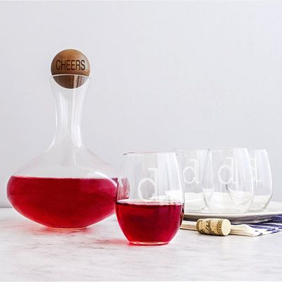 Personalized Wine Decanter & Glass Set Parents Gift, Parents Wedding Gift, Christmas Mothers Day Valentines Day by ArniesGifts on Etsy $81.59