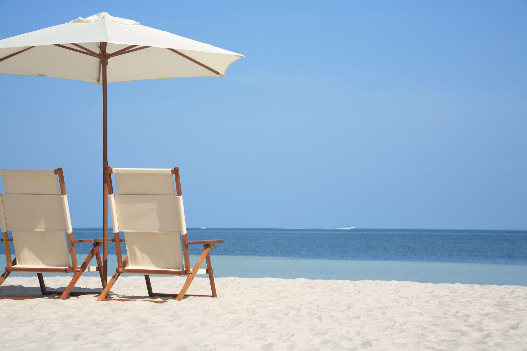 beach+chair beach chairs and umbrella on tropical beach