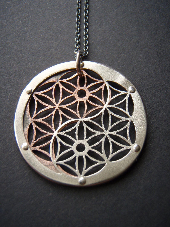 Fleur de vie Mandala Collier-Argent Sterling 925-Médaillon à motifs